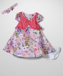 De Berry Flower Print Dress With Belt - Coral