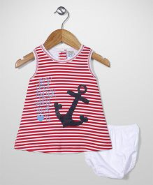 Super Baby Anchor Print Frock And Bloomer Set - Red & White