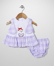 Super Baby Rabbit Print Dress With Bloomer - White & Purple