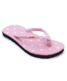 De Berry Polka Dot Print Slippers - Pink