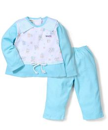 Super Baby Bunny Print Night Suit - Blue & White