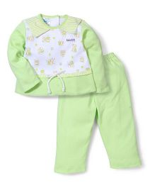 Super Baby Bunny Print Night Suit - Green & White