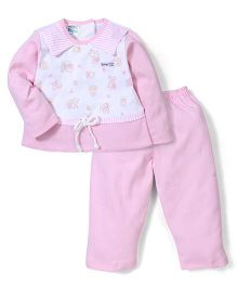 Super Baby Bunny Print Night Suit - Pink & White