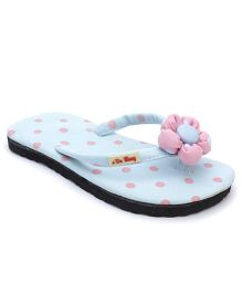 De Berry Polka Dot Slippers With Flower - Sky Blue