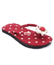 De Berry Polka Dot Slippers With Flower - Maroon