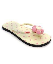 De Berry Polka Dot Slippers With Flower - Yellow