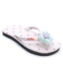 De Berry Polka Dot Slippers With Flower - Light Purple
