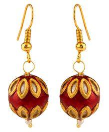 NeedyBee Simple Ball Earrings - Gold & Red