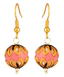 NeedyBee Simple Ball Earrings - Gold & Pink