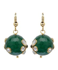 NeedyBee Kundan Work Ball Earrings - Green