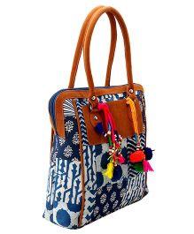 JaipurSe Patchwork Multipurpose Utility Bag With Tassels - Indigo