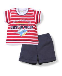 Super Baby East To West Print T-Shirt & Shorts Set - Red & White