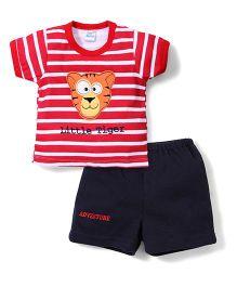 Super Baby Tiger Print T-Shirt & Shorts - Red