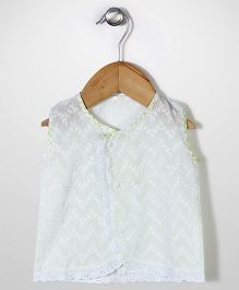 Chocopie Sleeveless Jhabla - Light Green White