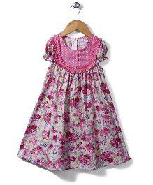 De Berry Flower Print Dress - Pink & Off White