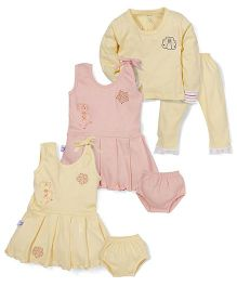 JO Kidswear Clothing Set Pack of 6 - Pink and Yellow