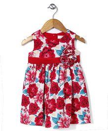 Bebe Wardrobe Flower Print Dress - Red & Blue