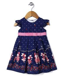 Bebe Wardrobe Dotted & Rabbit Print Dress - Navy Blue
