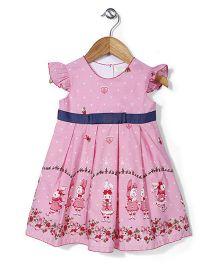 Bebe Wardrobe Dotted & Rabbit Print Dress - Pink