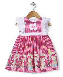 Bebe Wardrobe Bear Print Dress - Pink & White