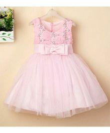 Peach Girl Sleeveless Dress With Bow - Light Pink