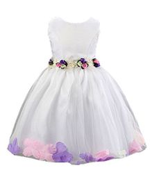 Peach Girl Stylish Party Dress With Flowers - White