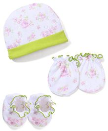 Babyhug Cap Mittens And Booties Set Floral Print - White