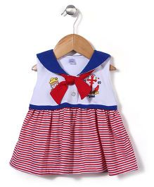 Childhood Anchor Print Frock - White & Red