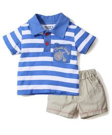 Starters Classic Bicycle Print T-Shirt & Shorts Set - White & Blue