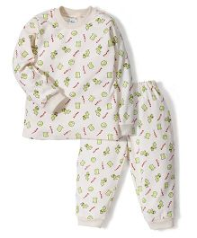 Super Baby Cow Print Night Suit - Cream