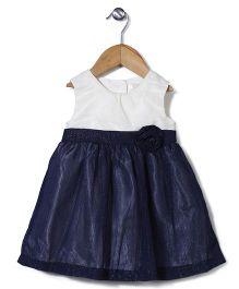 Bebe Wardrobe Sleevless Dress With Flower Design - White & Blue