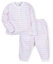 Super Baby Stripe Print Night Suit - Pink