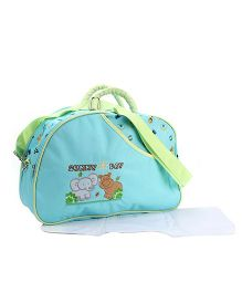 Mother Bag Elephant And Hippo Embroidery - Teal Blue