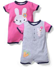 Little Baby Rabbit Print Romper Set - Grey & Pink