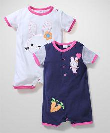 Little Baby Rabbit Print Romper Set - Navy & White