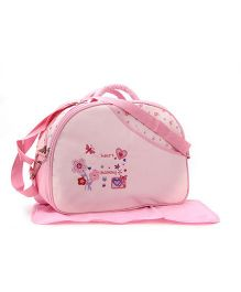 Mother Bag Floral And Heart Embroidery - Pink