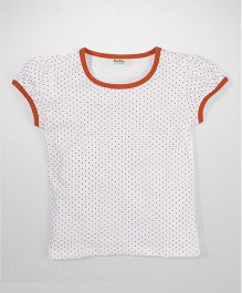 Bee Bee Dot Print T-Shirt - White & Orange