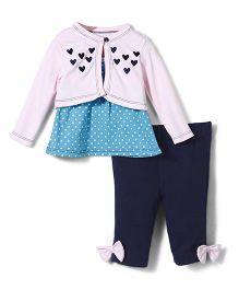Starters Doted Print Top & Legging Set - Pink & Blue