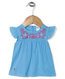 Bee Born Cap Sleeves Dress - Blue