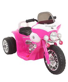 Police Battery Operated Motorbike Ride-On - Dark Pink And White
