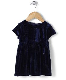 Minikid House Shimmer Velvet Dress - Blue