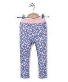 Mini Pink Flower Print Pant - Blue