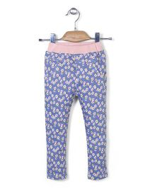 Mini Pink Flower Print Pant - Blue