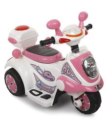 Battery Operated Ride On Bike - Pink and White