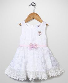 Notty Kid Bow Design Party Dress - White