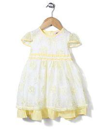 Smile Rabbit Floral Design Dress - White