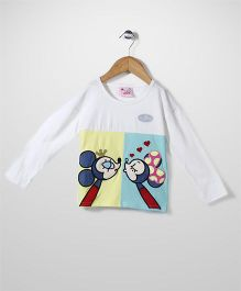 Mini Pink Mouse Print T-Shirt - White