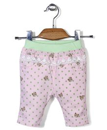 Notty Kid Bear & Polka Dot Print Pant - Light Pink