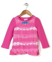 Mini Pink Top With Flower Applique - Pink