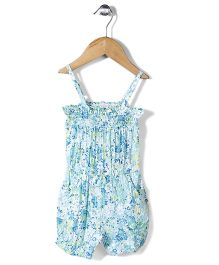 Bee Born Floral Print Romper - Blue